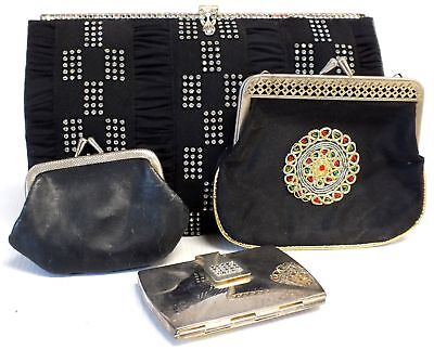 4 X Assorted Vintage Purses Embroidered Jeweled Silver Tone Mirror  - B63