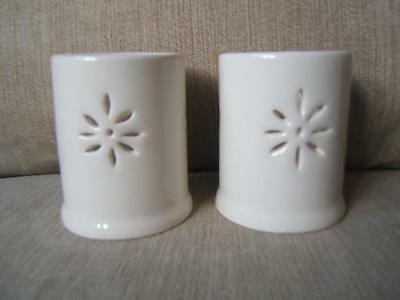 Pair (2) LAURA ASHLEY ceramic TEA LIGHT candle HOLDERS superb!