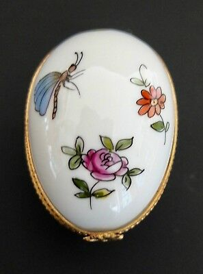 Tiffany & Co. Hand Painted Egg Shape Porcelain Trinket Box Made In Limoges