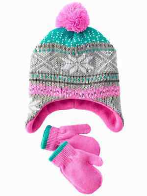 ab2de36175e Toddler Girls Gray   Pink Knit Snowflake Trapper Hat   Mittens Beanie Set 2- 4T