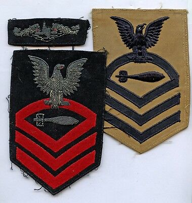 WWII WW2 Patch-USN US Navy Petty Officer Submarine Badge Wings + Rate BULLION