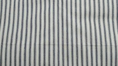 """Blue & White Stripes Vintage Pillow Ticking Fabric 32"""" Wide By The Yard"""