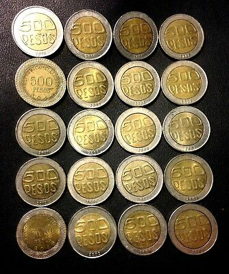 Old Colombia Coin Lot - 500 PESOS - BI-METAL Types - Lot #A19