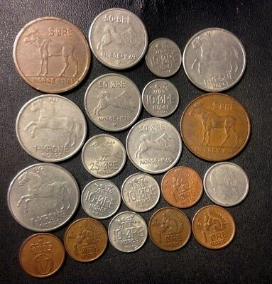 Vintage Norway Coin Lot - ANIMAL SERIES - HIGH GRADES - 20 COINS - Lot #A19
