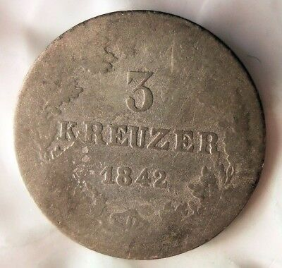 1842 GERMAN STATES (NASSAU) 3 KREUZER - Excellent Rare Silver Coin - Lot #A19