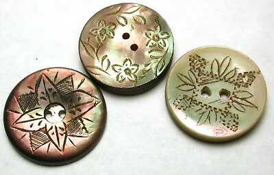 """Lot of 3 Antique Carved Shell Buttons w/ Flowers Designs - 11/16"""""""