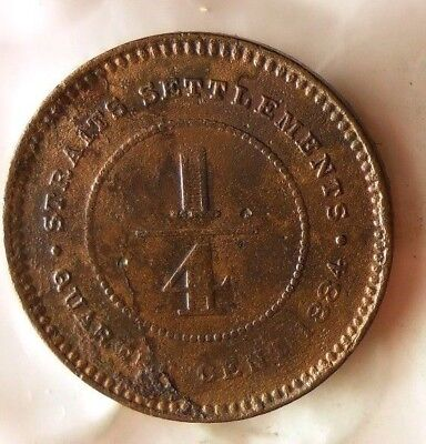 1884  STRAITS SETTLEMENTS 1/4 CENT - VERY RARE TYPE Coin - Lot #M23