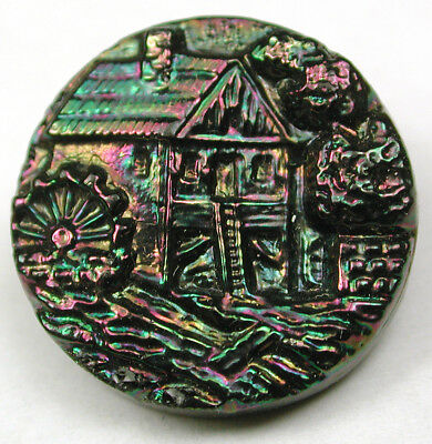 """Antique Black Glass Button Detailed Mill Design w/ Carnival Luster 11/16"""""""
