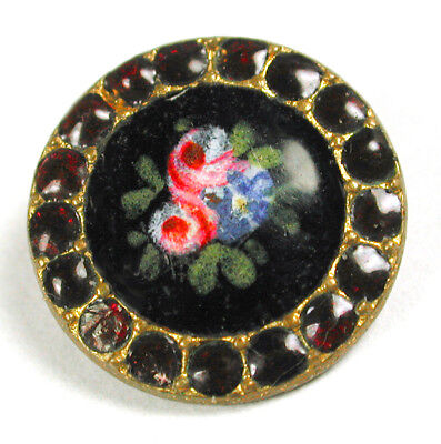 """Antique French Enamel Button Hand Painted Flower w/ Pierreries Border- 5/8"""""""
