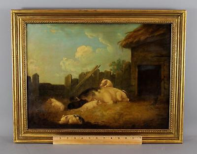 19thC Antique O/C Oil Painting, Country Farm Pig & Piglets Barnyard Scene, NR