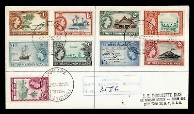 1965 British Solomon Islands Qeii Pictorials #113-25 On Registered Cover To Usa