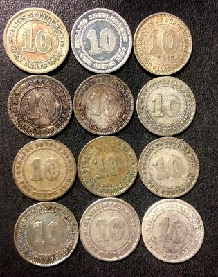 Old Malaya/Straits Settlements Coin Lot - 12 SILVER COINS - 1910-1939 - Lot #M23