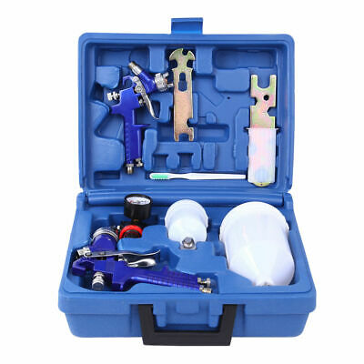 1.4/0.8mm Nozzle Paint Base Primer HVLP 2-Spray Guns Set Gauge Auto Gravity Feed