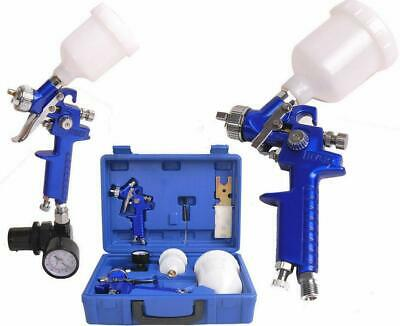 0.8 / 1.4 Nozzle Paint Base Primer HVLP 2-Spray Guns Kit Gauge Auto Gravity Feed