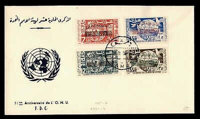 1956 Syria Fdc United Nations 11Th Aniv Overprints #401-02 C221-2 With Cachet