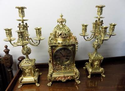 good quality french brass clock garniture c1880s