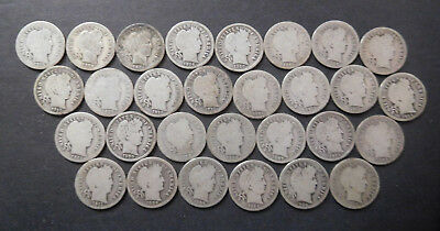 U.S. Silver Coins Lot, 29 Early Silver Dimes, #3, Mixed Dates