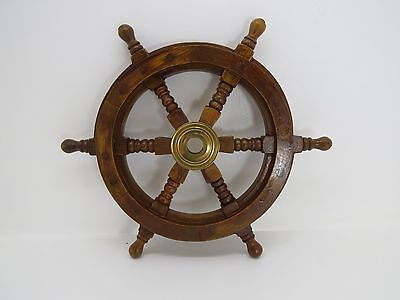 12+1/4 Inch Wood And Brass Boat Ships Wheel Sailboat Nautical Decor