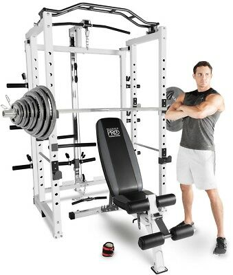 Marcy Pro Power Rack Folding Cage Home Gym with 140kg Olympic Weight Plate Set