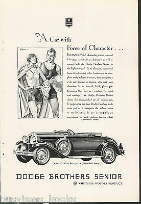 1929 DODGE ROADSTER advertisement, Dodge Brothers Senior Roadster, top down