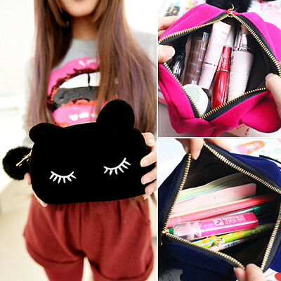 Portable Cartoon Cat Coin Storage Case Travel Makeup Pouch Soft Cosmetic Bag Uk
