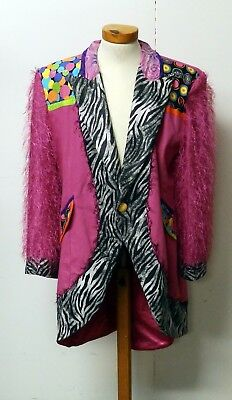 Bright Pink Jacket With Animal Print Border & Diamante Festival/Clown - Size L