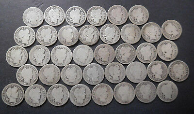 U.S. Silver Coins Lot, 38 Early Silver Dimes, #4, Mixed Dates