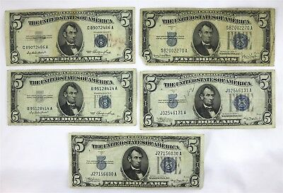 Lot of 5 United States $5 Five Dollar Silver Certificates