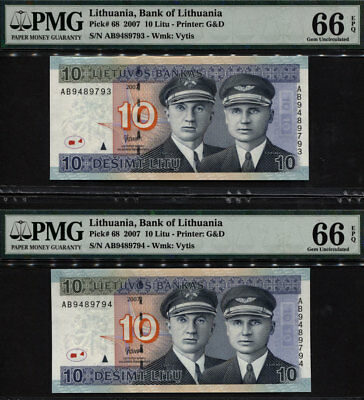 Tt Pk 68 2007 Lithuania 10 Litu Pmg 66 Epq Gem Sequentially Numbered Set Of Two!