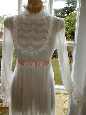 "Vtg 70's Double Layer Sheer Nylon Frilly Lacy Nightie Nightdress Gown 36"" Tall"