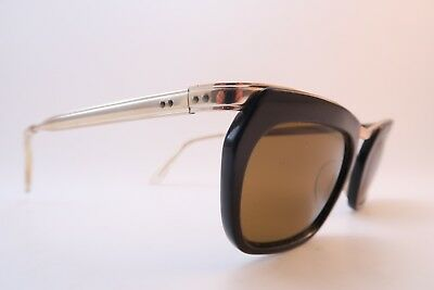 Vintage 50s gold metal sunglasses SBR brown acetate original lens Germany *****