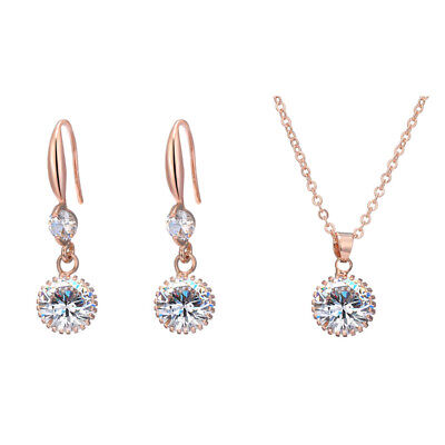 Rose Gold Color Earrings  Necklace Statement Jewelry Set Party For Women Gifts