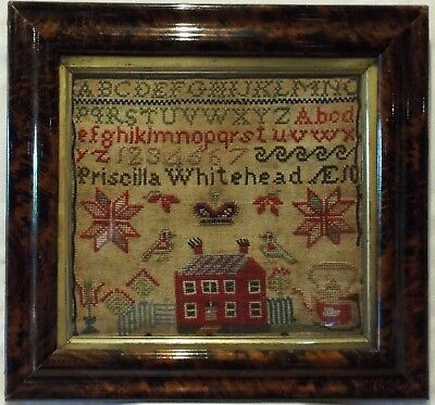 MID/LATE 19TH CENTURY RED HOUSE SAMPLER BY PRISCILLA WHITEHEAD AGED 10 - c.1870