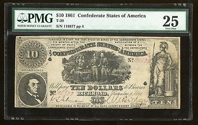 "1861 $10 T-30 Confederate Currency PMG 25 ""Sweet Potato Dinner"""