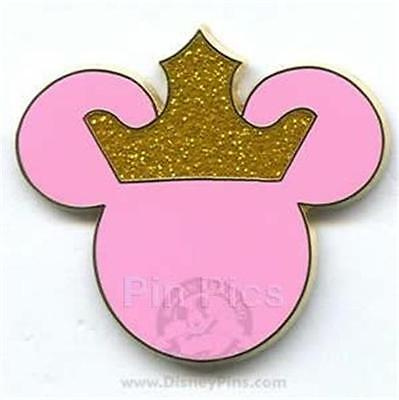 PINK Princess EARS ICON with GOLD GLITTER/SPARKLE CROWN Disney Pin 2006
