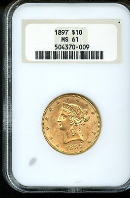 Amazing 1897 NGC MS 61 United States $10 Liberty Head 90% Gold Coin FB424