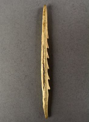 500-5000+yrs ALEUT Artifact KODIAK ISLAND AK Inuit Caribou Bone FISH SPEAR POINT