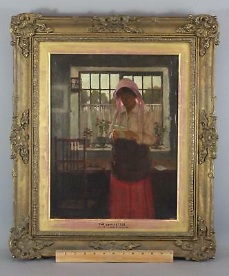 Antique WILLIAM LAVENDER English Luminist Genre Oil Painting Woman & Love Letter