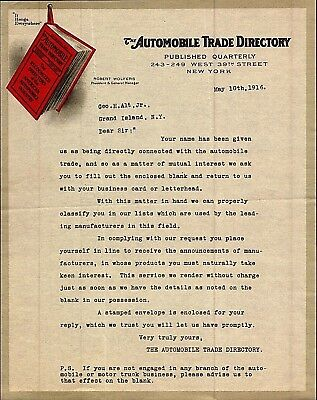 Vintage 1916 Automobile Trade Directory Red Book Letterhead New York