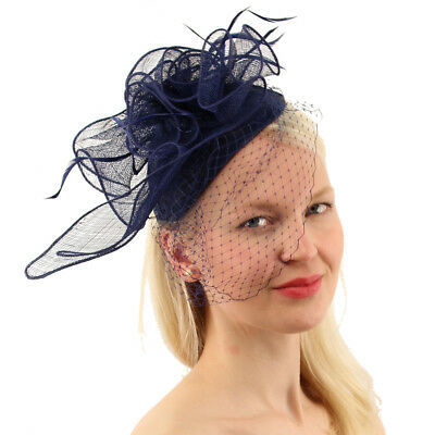 CC Sinamay Feathers Netted Veil Fascinators Headband Cocktail Derby Hat Navy