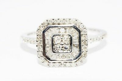 $700 .51Ct Natural Round & Baguette Diamond Cluster Silver Ring Size 7