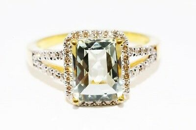 $700 3.38Ct Natural Green Amethyst & Cognac Diamonds Cocktail Silver Ring Size 7
