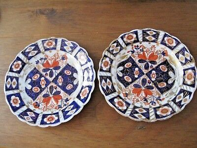 2 Antique Scalloped Edged Imari Style Plates Hand Painted in Gold, Blue & Orange