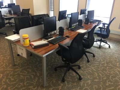 Used Office Cubicles, Benching Stations 4x2