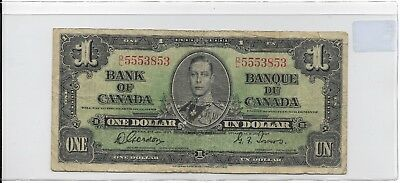 1937 $1 Bank of Canada Signatures Gordon & Towers