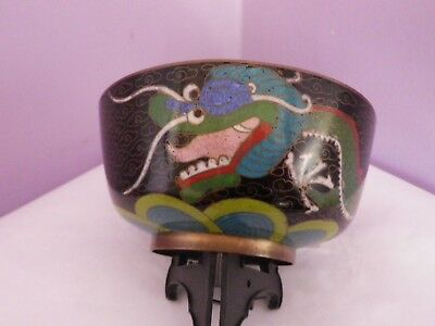 FAB ANTIQUE CHINESE CLOISONNE DRAGON CHASING FLAMING PEARL DESIGN BOWL 11cms dia