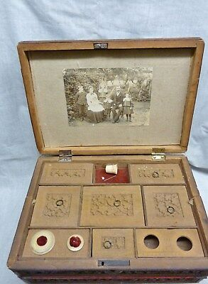 carved victorian anglo indian sandalwood antique sewing/writing box  cdv extras