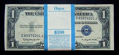 FR1618 $1 1935H SILVER CERTIFICATES PACK OF 100 CONSECUTIVE NOTES CH-VCH to GEM