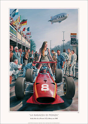 Monza Girl:  Italian Grand Prix 1968 Chris Amon Ferrari 312 Ltd Ed Print NEW!