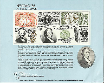 """B99-NWPMC '86, BEP Souvenir Card,""""Montage of Fractional Currency(6)""""&Sam Dexter"""